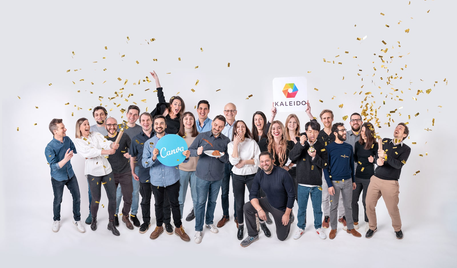 The team at kaleido celebrating their acquisition - each member has been digitally added.